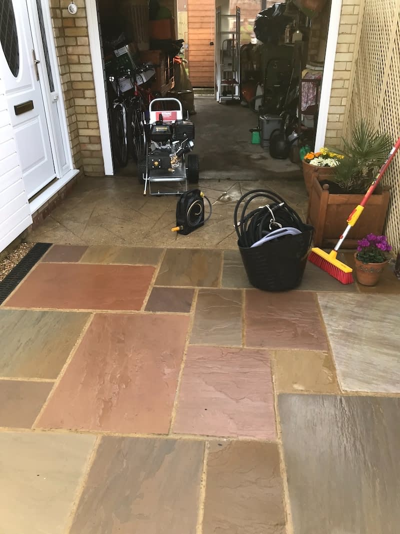 A freshly cleaned patio which we cleaned using our high pressure washer