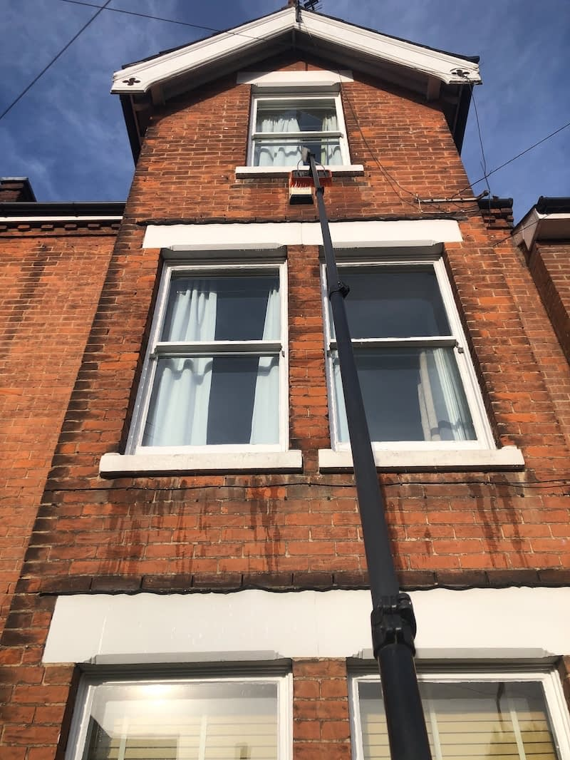 We prefer the pole fed window cleaning method